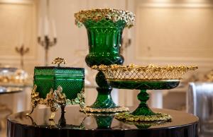 Linea Cristallo Italiano Verde e oro Boutique Lusso Tehran - Argenteria Calegaro 1921 Made in Italy